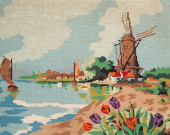 Vintage French needlepoint tapestry canvas embroidery - Holland windmills at the sea with tulips