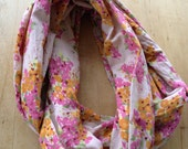 Pink and Orange Floral Spring Infinity Scarf