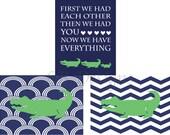 Navy Blue and Green Alligator Nursery Decor, Alligator Prints - Three 8x10s