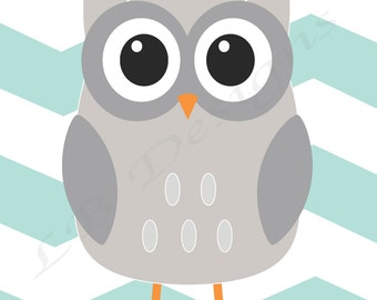 Owl Nursery Decor, Woodland Nursery Print, Aqua and Gray Nursery, Fox Nursery Art, Gender Neutral Nursery, Baby Shower Gift - 8x10