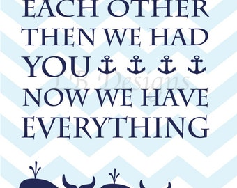 Nautical Nursery Print, Whale Nursery Decor, Nautical Nursery Decor, Whale Art - 8x10