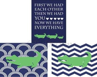 Navy Blue and Green Alligator Nursery Decor, Boy Alligator Bedroom Prints, Playroom Decor, Preppy Nursery Decor, Gift for New Baby -  8x10s