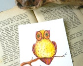 "Mini original watercolor painting: cute owl in pink, orange and yellow - 3.9"" x 3.9"""