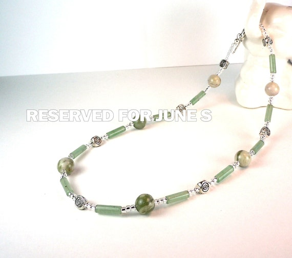 Gemstone Necklace - green fossil agate - green adventurine - toggle clasp