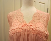 Vintage Nightgown Pink Chiffon and Nylon Babydoll Vanity Fair