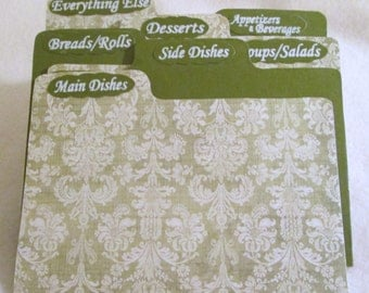 Recipe Box Dividers for Sage - Cream Recipe Box
