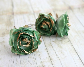 Emerald and Gold Rose Flower Hair Pins.Weddings. Bridesmaids, Floral, Hair Accessories. Green Rose, emerald flower hair clip, fall, autumn