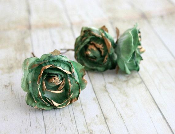 Emerald and Gold Rose Flower Hair Pins.Weddings. Bridesmaids, Floral, Hair Accessories. Green Rose, emerald flower hair clip, fall, autumn