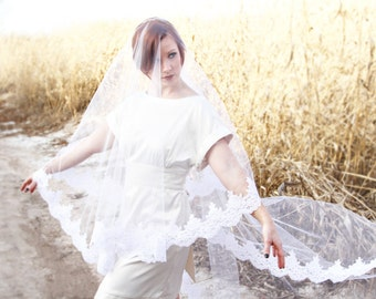 Ivory Mantilla Veil, White Mantilla Veil, CATHEDRAL length wedding veil sewn to metal comb. White or Ivory Mantilla Veil with lace border.