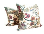 Pillow Covers from Vintage Jacobean Fabric, Set of Two