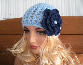 Womens Hat Crochet Hat Winter Fashion Accessories Women Hat Cloche Beanie Hat with Soft navy blue crochet flower