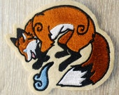 Kitsune Fox  Embroidered sew-on patch (Various colours)