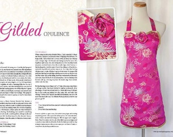 Apron in APRONOLOGY Magazine 2013, Fuchsia & Gold Brocade Satin, HAUTE COUTURE Noir, Elegant Evening Hostess, Classy Cook Aprons