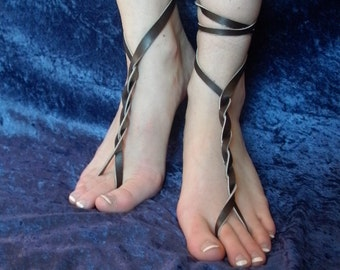 Barefoot Leather Fairy Sandals--- Gladiator Sandals--- Greek Sandals--- Beach Sandals--- With Tie Instruction Sheet--- 10 in 1