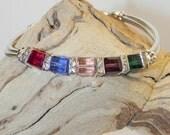 Mother's Day - Mother's/Grandmother's Swarovski Cubed Crystal Silver Bangle Bracelet