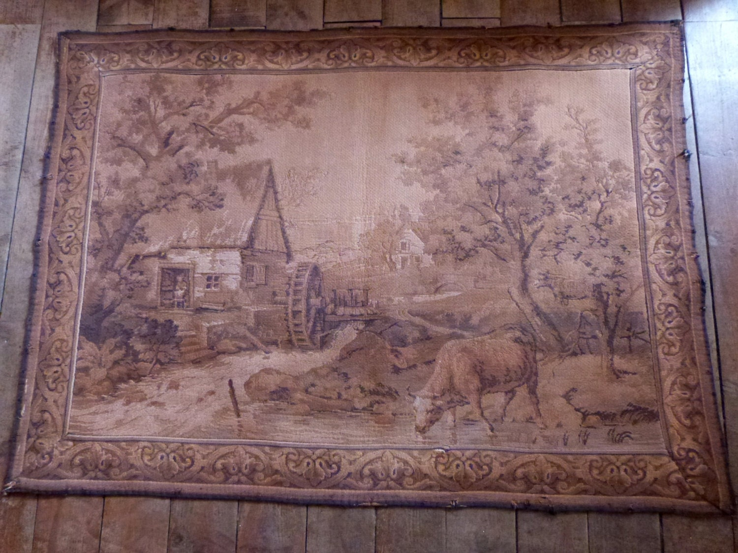 Antique French Tapestry Wall Hanging 1900s Framed Wall