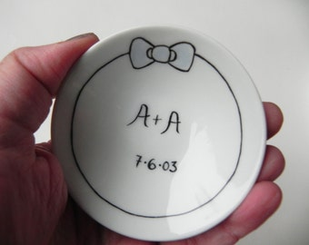 Wedding ring dish, custom porcelain ring holder, engagement, You Plus Me and blue bow, Black and White, Made to Order