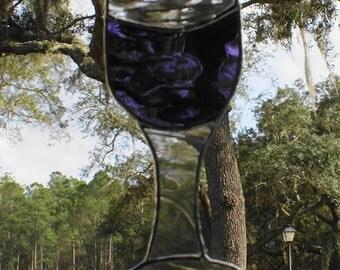 Cabernet/Merlot Wine Goblet -   Stained Glass Suncatcher - Whimsical Bar Decor - Clear Baroque Glass Stem
