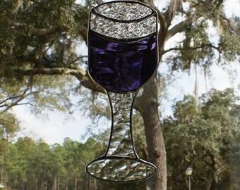 Cabernet/Merlot Wine Goblet -   Stained Glass Suncatcher - Whimsical Bar Decor