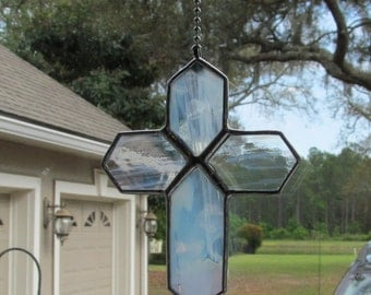 White Wispy Translucent Stained Glass Cross Fan Pull  - Unusual Gift Idea