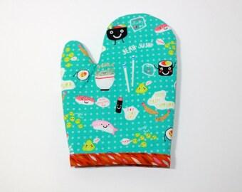 Kids play oven mitt, SUSHI japan japanese, stocking stuffer, present gift for little chef kitchen