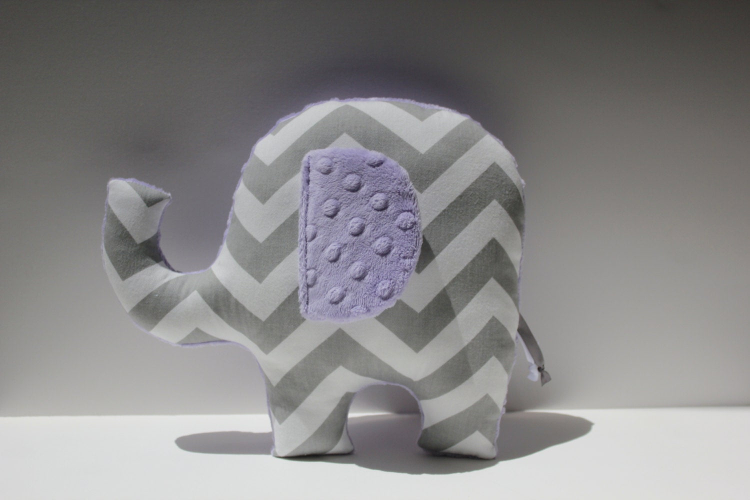 Modern Lilac Gray Nursery Elephant Pillow Decor Grey Chevron