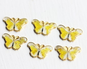 Yellow Butterfly Charms (6x)