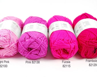 SALE - 4 Pink Skeins of Cotton Yarn - Capri by Katia