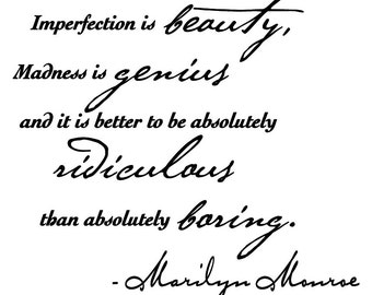 """Marilyn Monroe wall decal quote sticker """"- Imperfection is beauty..."""""""