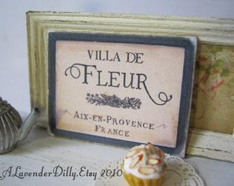 Ville de Fleur Sign for Dollhouse