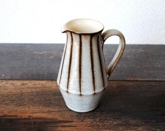 Denby Studio Stripe Coffee Pitcher, Creamer Milk Server, Mid Century Vintage English Stoneware