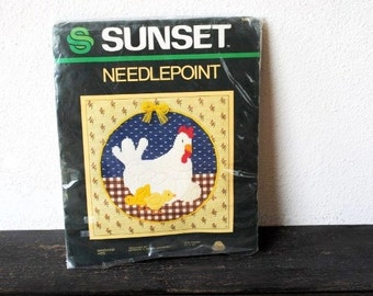 Vintage Hen Chicks Nest Needlepoint Kit, Gingham Country Decor Embroidery Wall Art, New Old Stock Supply Unused
