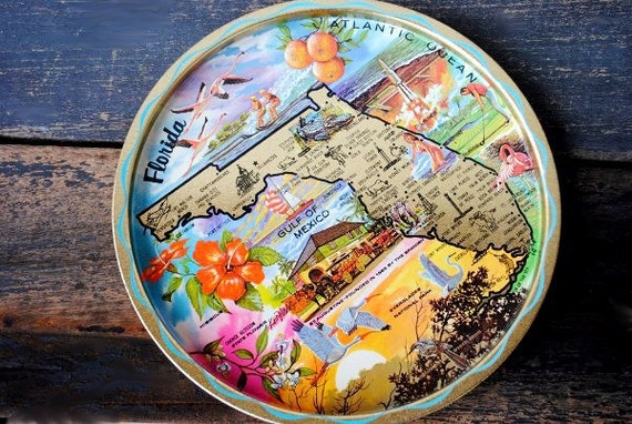 Vintage Florida Souvenir Metal Tray, Signed Ken Haag Art, 1960s Colorful Bikini Girl Beach Decor State Collectible