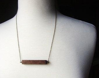 Wooden Necklace - bar necklace - woodland - wood choker necklace - wood eco choker - horizontal bar necklace - skinny bar necklace - for him