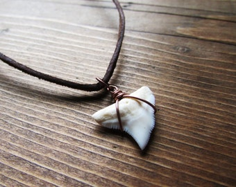 Shark Tooth Necklace, Leather Chain
