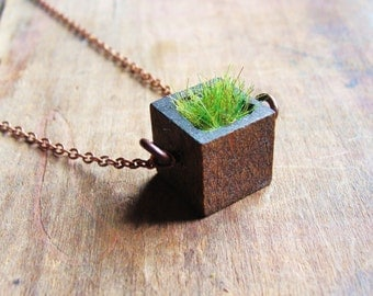 Wood and Grass Necklace Square Bezel Planter Necklace