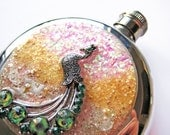 Sparkly Pink Peacock Flask