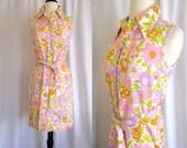 Vintage 1960s - 70s Flower Power Dress - Mod - Wiggle  - Size S