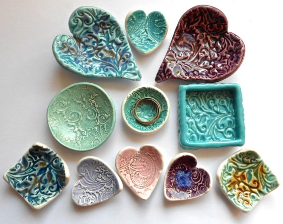 Handmade Ceramic Ring Catcher  Heart Trinket Dish Ring Bowl Soft Blues