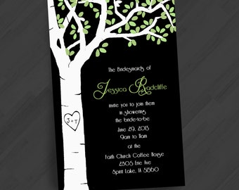 Nature Invitations, White Birch w/Optional Carving. Wedding, Engagement, Rehearsal, Shower, Special Events. Free Color, Font & Text Changes.