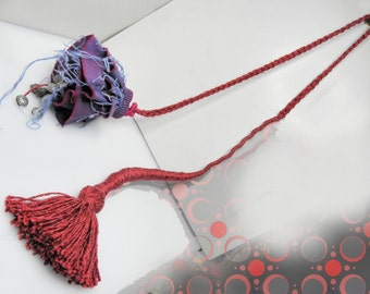 Statement Necklace, rope necklace, flower fiber art, red violet magenta, contemporary, tribal jewelry art
