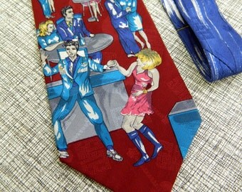 Vintage 90s Elvis Presley Collection Devil in Disguise Print Silk Tie