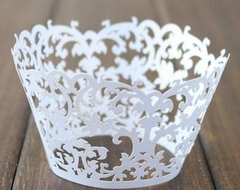 Lace cupcake liner, laser cut cupcake wrapper - 60pcs lace