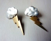 Stormy Personality Earrings - Silver and Brass Lightning Cloud Earrings