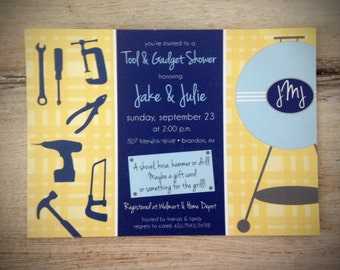 Tool & Gadget Shower Invitation - 5 X 7 - Professionally Printed - Linen FInish - Envelopes Included (Digital File Option Available)