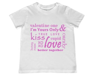 Love Typography Collage Tee, image in ANY COLOR -- infant, toddler, youth sizes