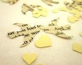 Book Page Bird Confetti  & Ivory Mini Heart Confetti // Vintage Wedding