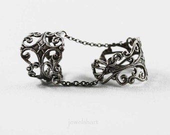 Silver Filigree Double Ring, Knuckle Ring, Adjustable Slave Ring, Statement Finger Armor