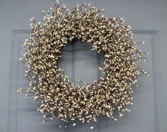 Spring Wreath - Ivory Pip Berry Primitive Wreath -  Celebrations - Wedding Wreath - Shabby Chic - Summer Wreaths - Front Door Wreath