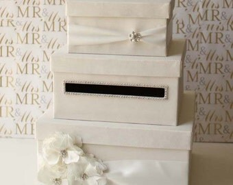 Wedding Card Box, Money Box, Gift Card Holder - choose your box & flower colors